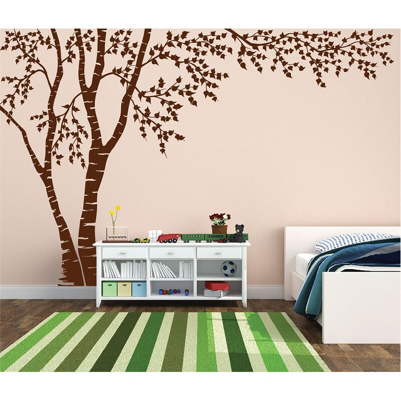 Harriet Bee Birch Tree Forest Blowing Leaves Vinyl Wall Decal Reviews Wayfair