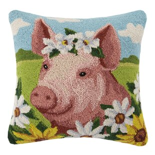Pig Farm Animal Hook Wool Throw Pillow by Peking Handicraft Looking for