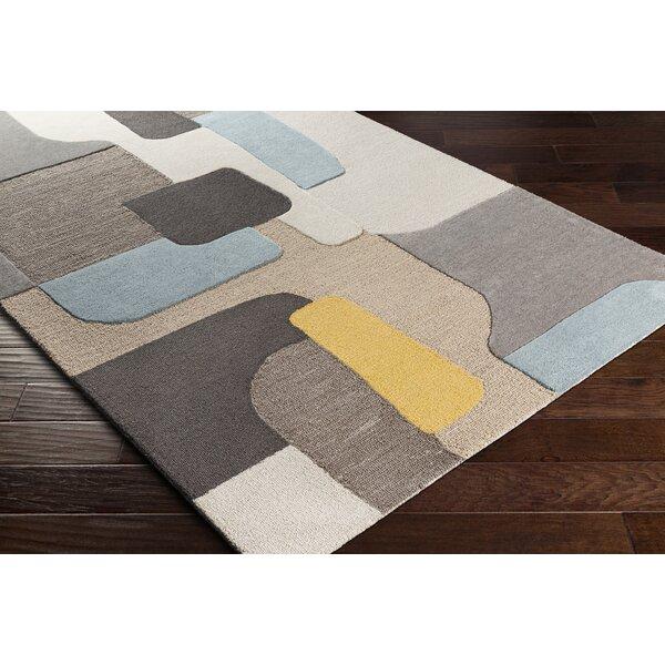 George Oliver Abra Geometric Handmade Tufted Wool Gray Light Brown Area Rug Wayfair