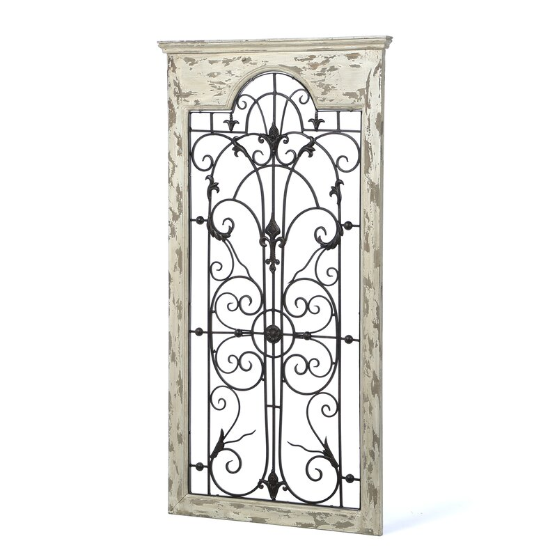 White Wood Wall Decor Part - 43: Gate White Wood And Metal Wall Décor