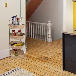 4 Tier Woven Round Kitchen Cart