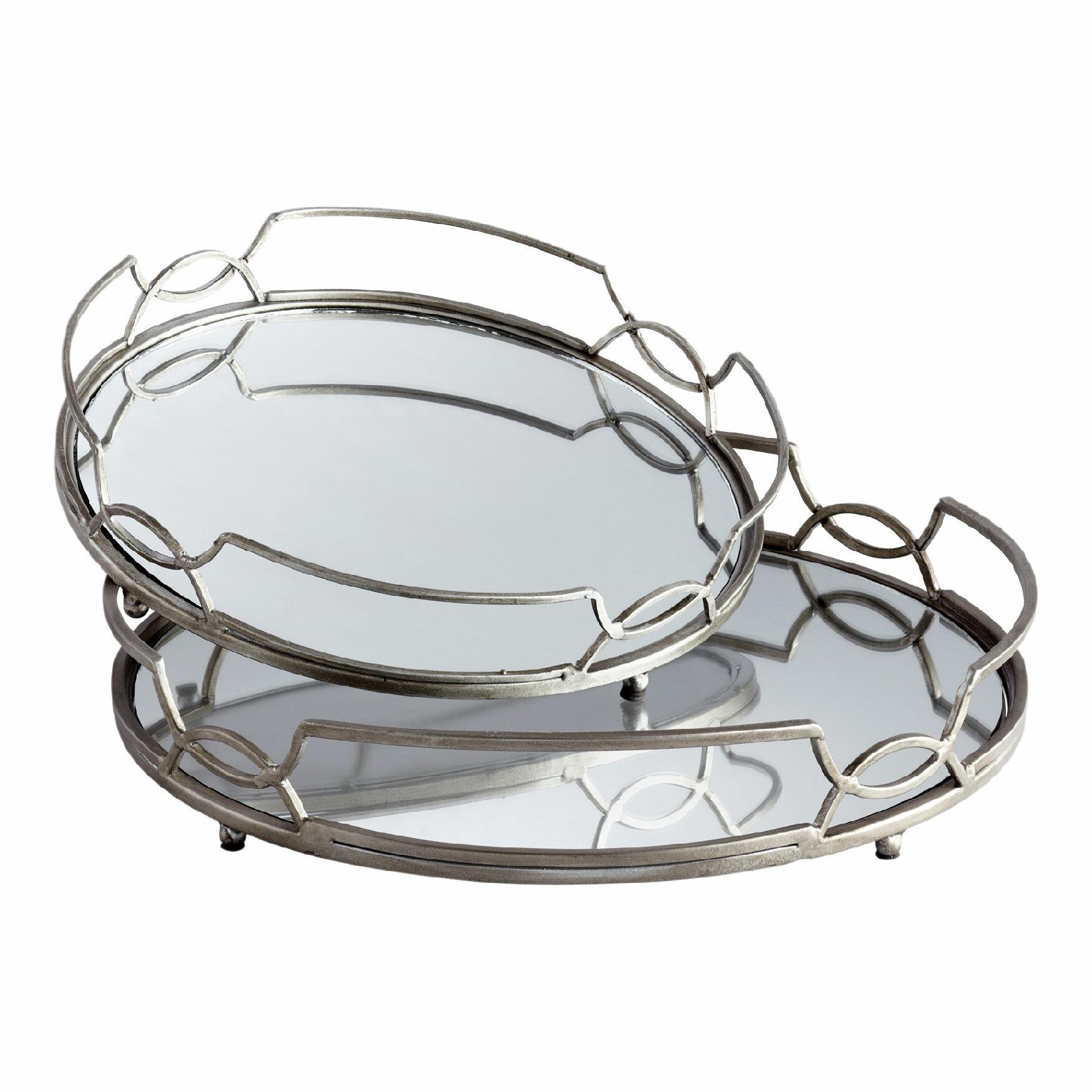 Willa Arlo Interiors Rosenblatt Round Mirrored 2 Piece Vanity Tray Set Reviews Wayfair Ca