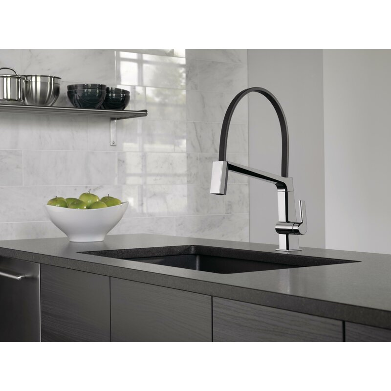 Delta Single Handle Exposed Hose Kitchen Faucet Reviews Wayfair