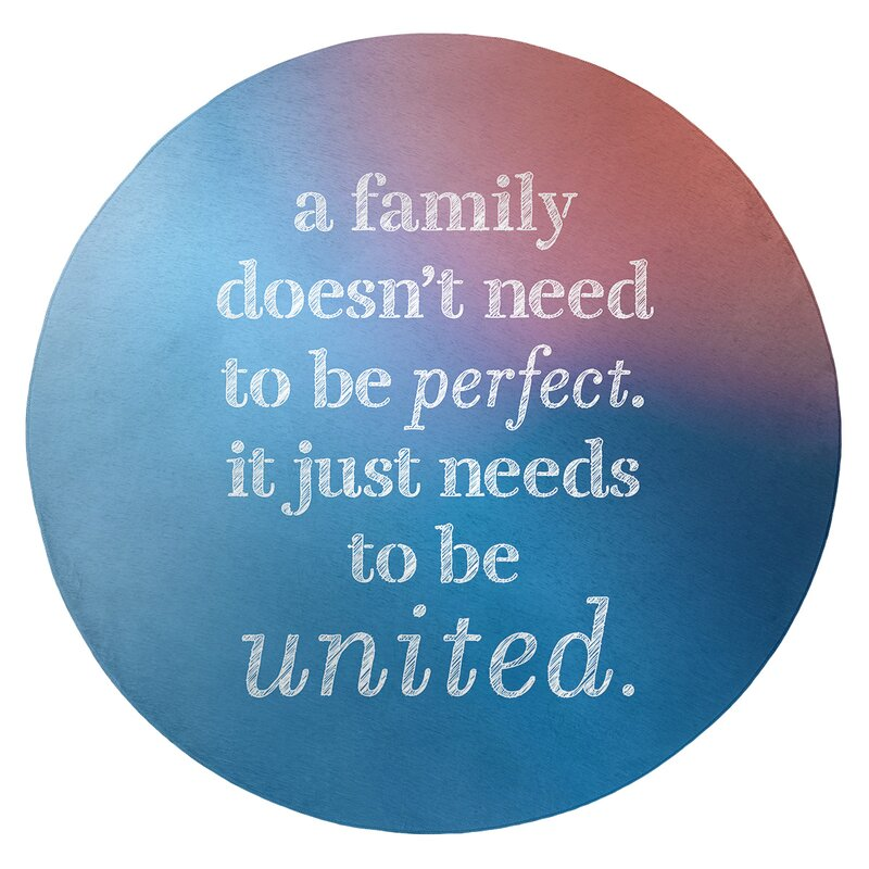 Multicolor Background Family Love Quote Poly Chenille Rug