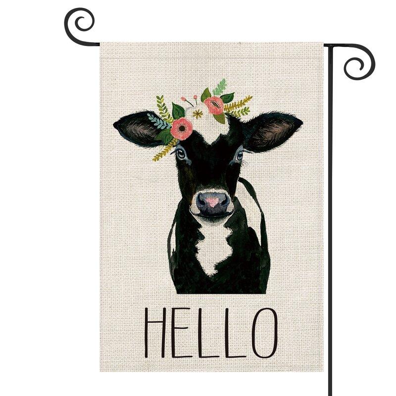 Avoin Colorlife Hello Cow 2 Sided Burlap 18 X 13 In Garden Flag Wayfair