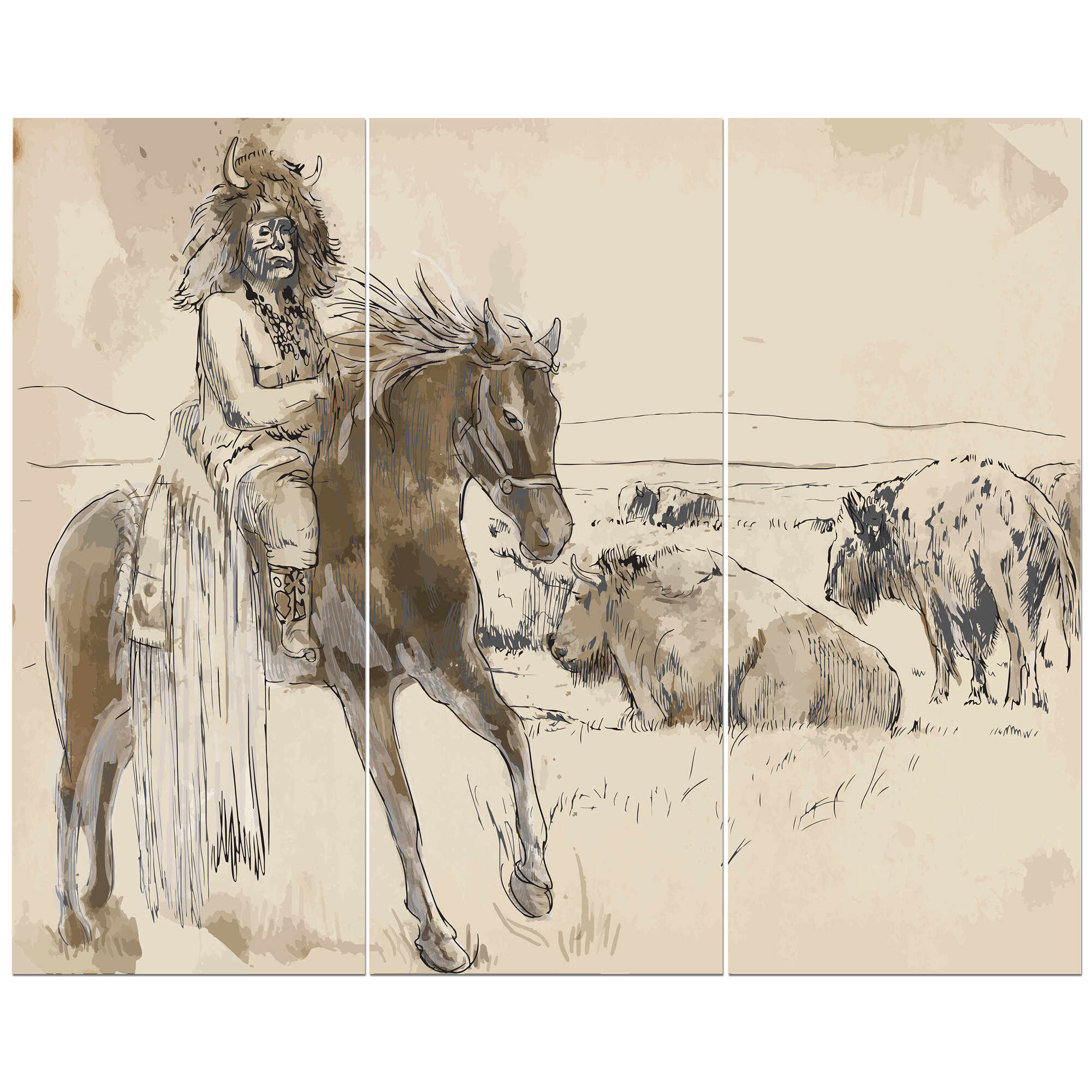 East Urban Home Sketch Of Indian Indian Chief Riding Horse Oil Painting Print Multi Piece Image On Wrapped Canvas