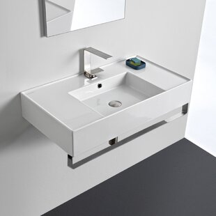 Buy clear Ceramic 32'' Wall Mounted Bathroom Sink with Overflow ByScarabeo by Nameeks
