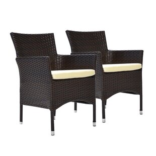 Gemmill Stacking Patio Dining Chair with Cushion (Set of 2)