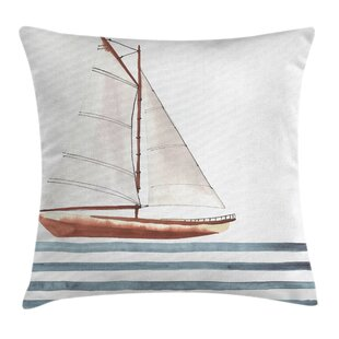 Quote Sailing Theme Boat Waves Square Pillow Cover