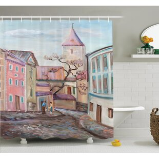Watercolor Effect Town Shower Curtain Set
