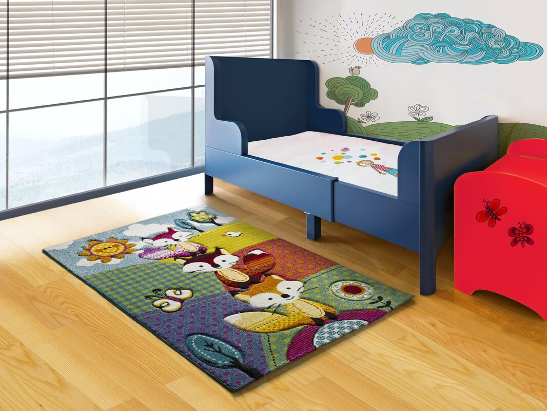zoomie kids teppich alberto in gr n blau bewertungen. Black Bedroom Furniture Sets. Home Design Ideas