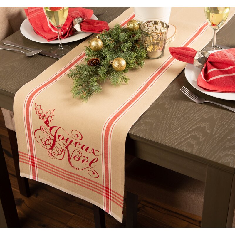 The Holiday Aisle Lila Joyeux Noel Table Runner Reviews Wayfair