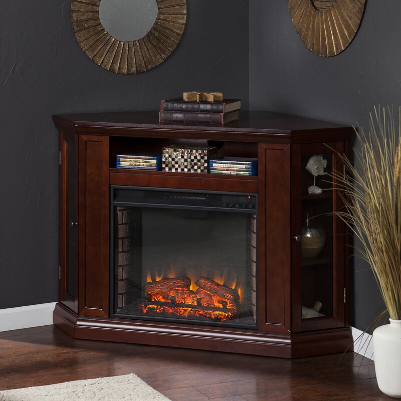 Dunminning Corner TV Stand With Fireplace