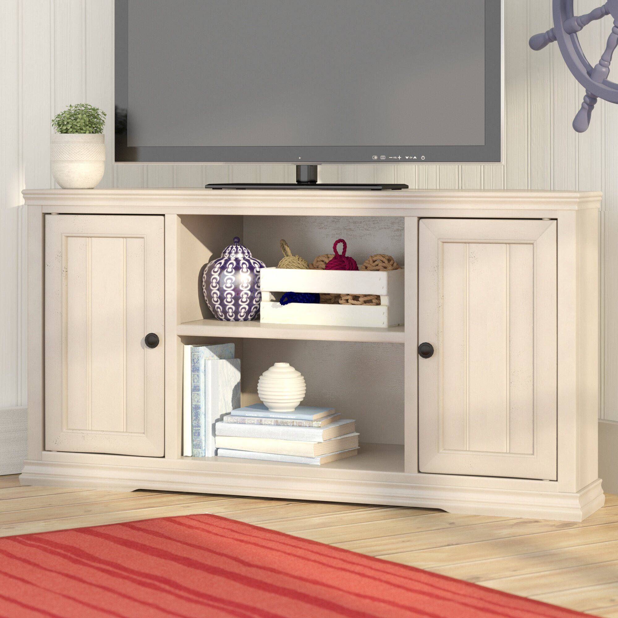 Beachcrest Home Helene Corner Tv Stand For Tvs Up To 55 Reviews Wayfair