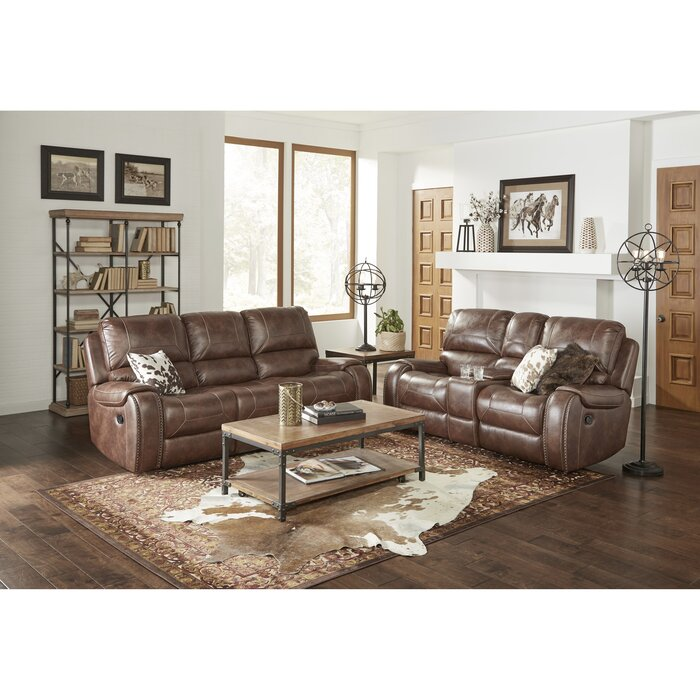 Stampley Leather Air Manual Reclining Living Room Set:
