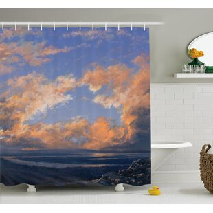 Lorie Scenery Clear Open Sky Landscape Sunset With Clouds Beams Ocean and Cliff Print Shower Curtain + Hooks