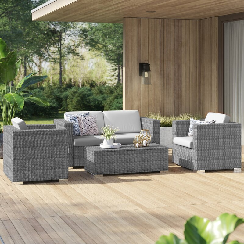 Mercury Row® Ostro 4 Piece Rattan Sofa Seating Group with Cushions
