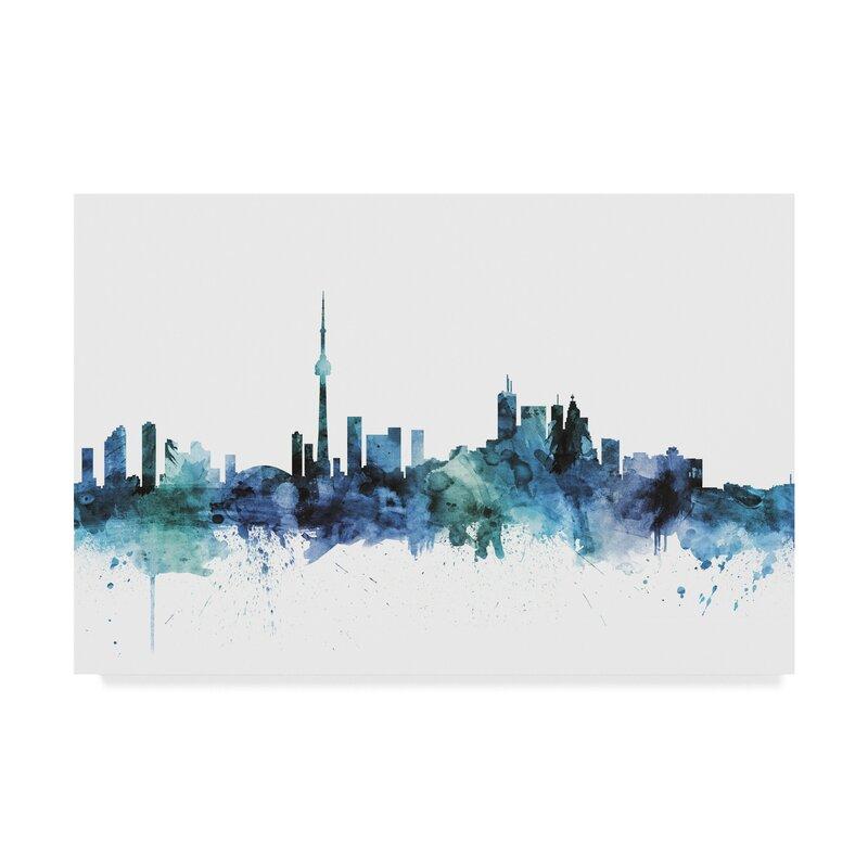 Wrought Studio Toronto Canada Blue Teal Skyline Graphic Art Print On Wrapped Canvas Wayfair