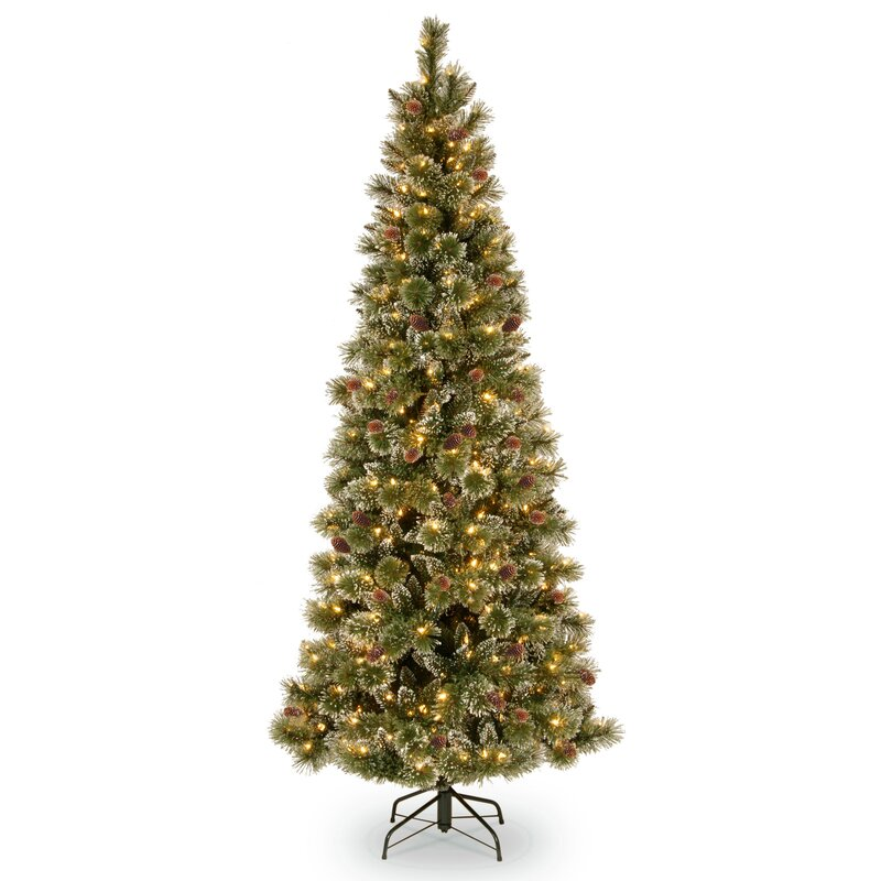 glittery bristle 65 green pine artificial christmas tree with 400 warm white lights - White Fake Christmas Trees