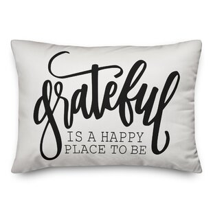 Grateful is a Happy Place To Be Lumbar Pillow