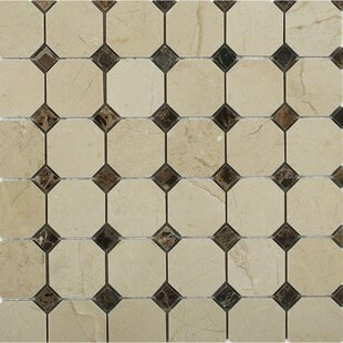 Octagon With Dot Squares Random Sized Marble Mosaic Tile In Crema Marfil Dark Emperador