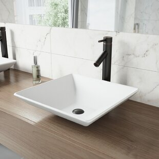 Review Matira Square Vessel Bathroom Sink with Faucet by VIGO