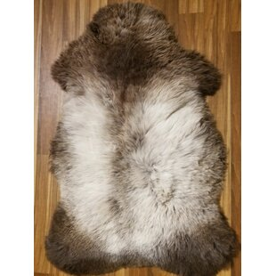 Compare prices Bonin Genuine Sheepskin Brown/White Area Rug By Union Rustic
