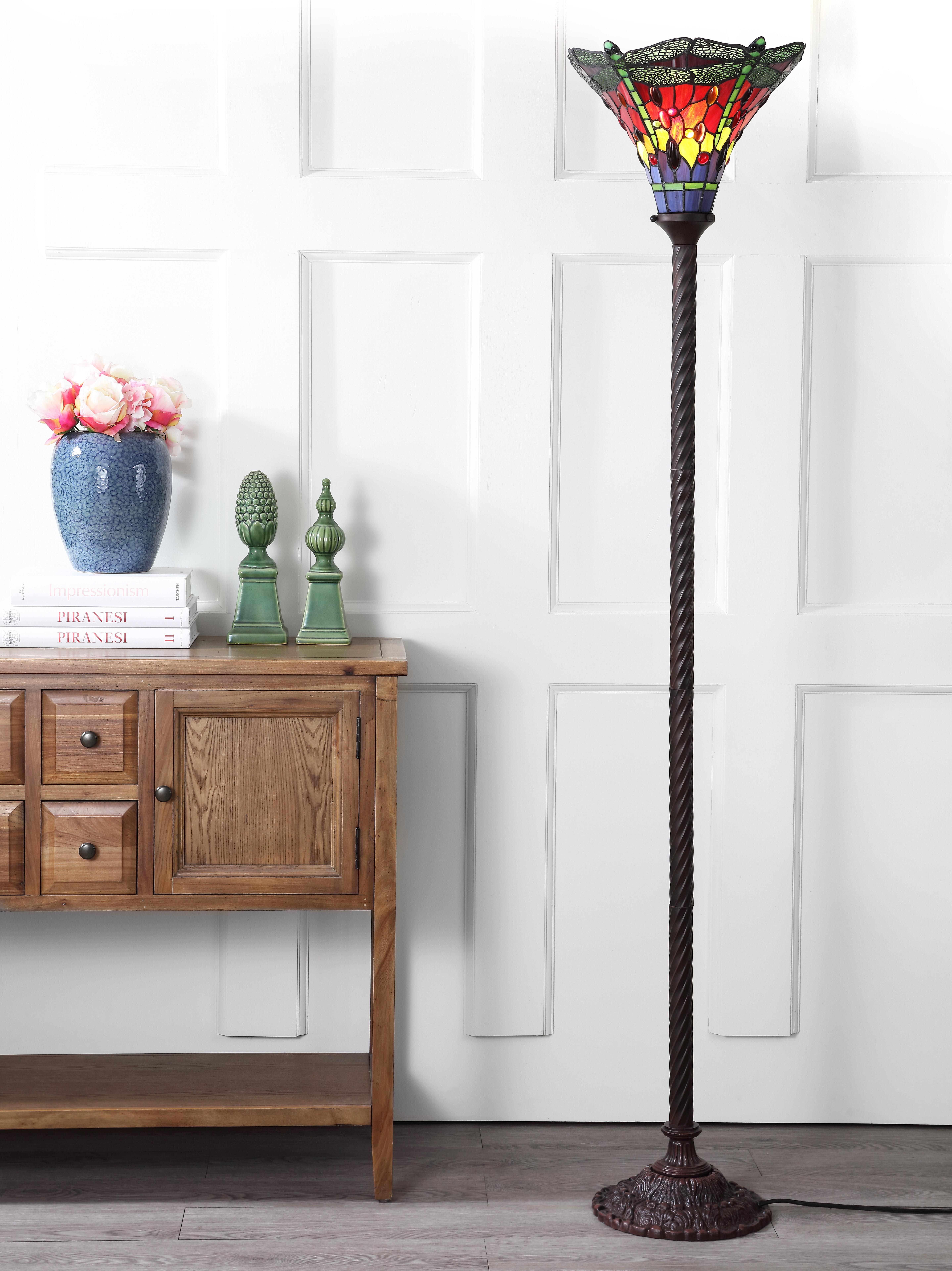 Loon Peak Ostlund Dragonfly Tiffany 71 Torchiere Floor Lamp Reviews Wayfair
