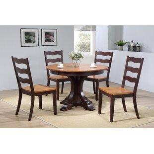 Dessert Deco Antiqued Transitional Ladder Back 5 Piece Extendable Dining Set August Grove