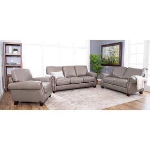Cairnbrook 3 Piece Leather Living Room Set by Darby Home Co