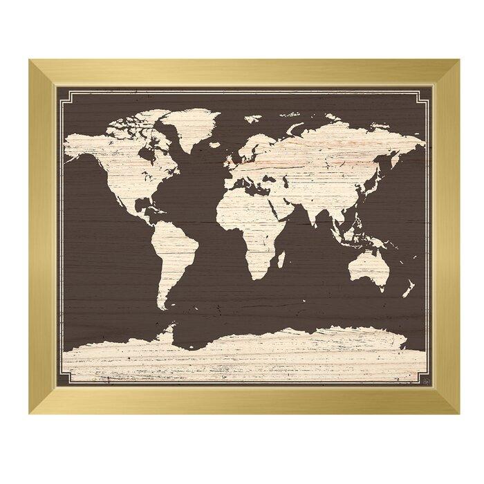 \'World Map on Dark Wood\' Framed Graphic Art