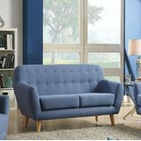 Loveseat, Blue Linen by Latitude Run