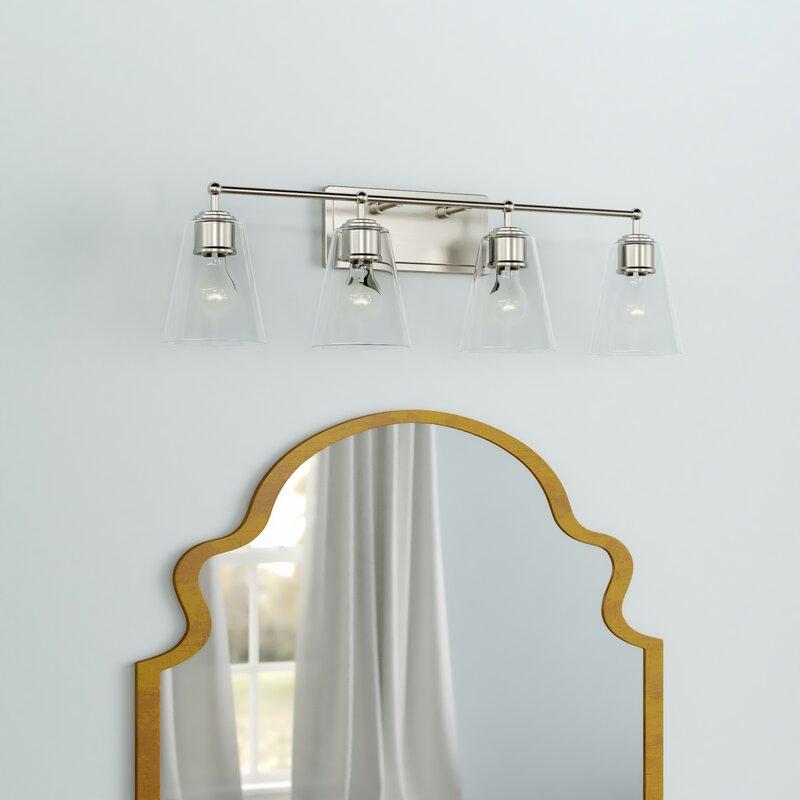 Three Posts Gallego 4 Light Glass Shade Vanity Light Reviews Wayfair