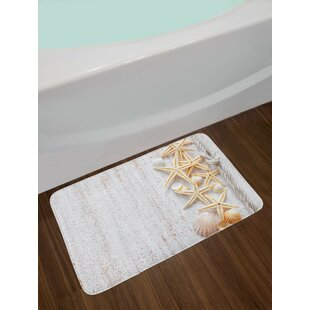 Seashells and Starfish with Rope in Vertical Direction Wood Surface Ocean Beach Non-Slip Plush Bath Rug