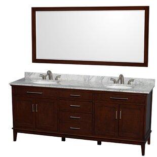 Hatton 80 Double Dark Chestnut Bathroom Vanity Set with Mirror by Wyndham Collection