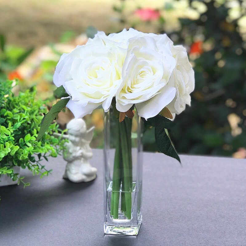 House Of Hampton 7 Heads Rose Floral Arrangements And Centerpieces In Vase Reviews Wayfair