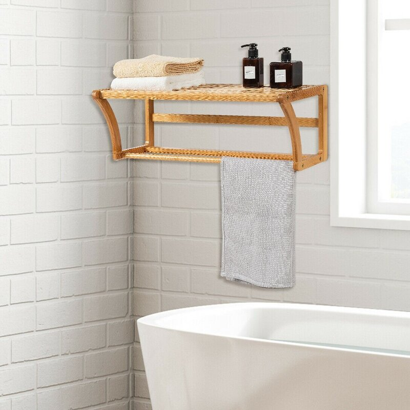 BAMBOO WOOD WOODEN WALL MOUNTED TOWEL RAIL HOLDER DOUBLE SHOWER BATH KITCHEN