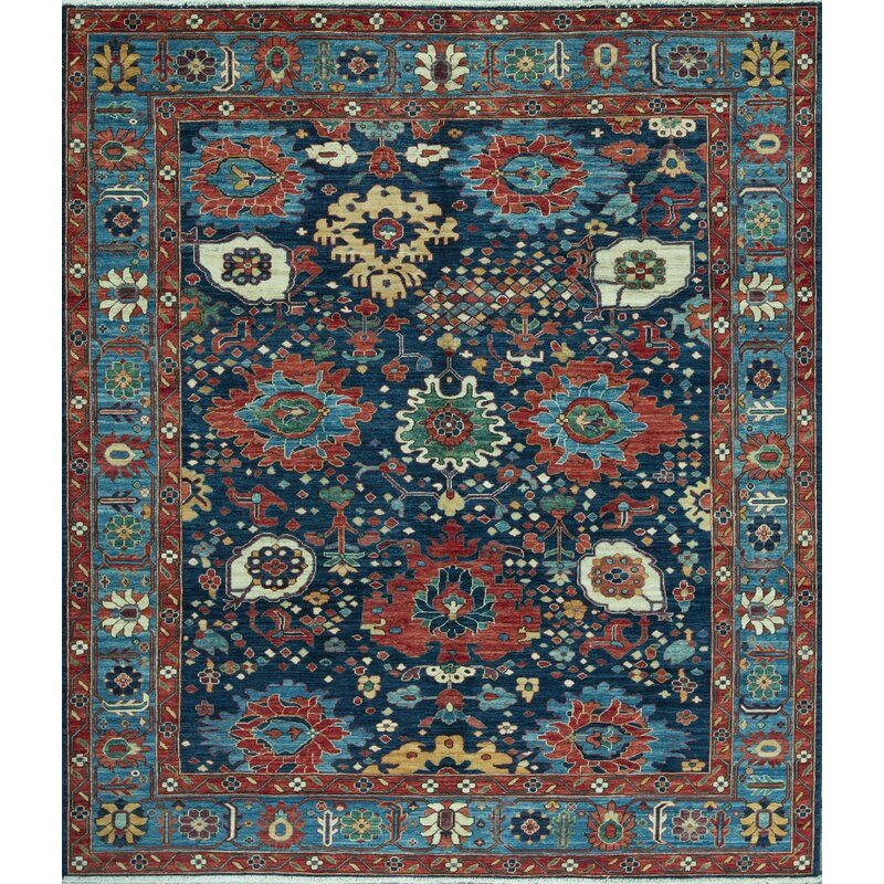 Bokara Rug Co Inc Aryana Oriental Hand Knotted Wool Light Blue Dark Blue Area Rug Wayfair