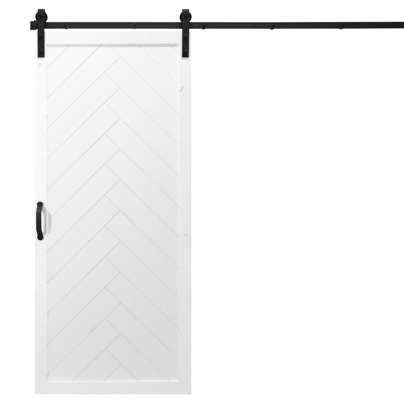 Herringbone Solid Panel Wood Slab Interior Barn Door