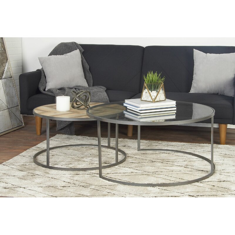 Round Coffee Table With Chairs.Orkney Contemporary 2 Piece Coffee Table Set