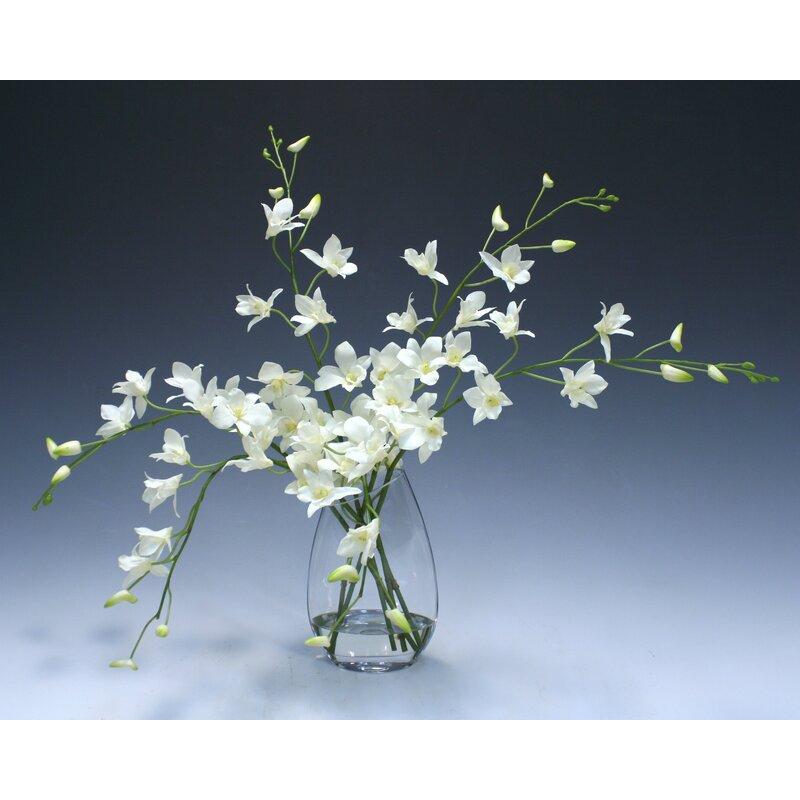 floral home decor orchid floral design wayfair.htm darby home co orchid floral arrangement in glass vase   reviews  orchid floral arrangement in glass vase