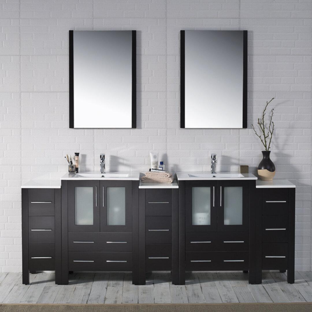 Orren Ellis Mance 85 Double Bathroom Vanity Set With Mirror Wayfair