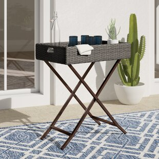 Brandy Tray Folding Wicker Bistro Table