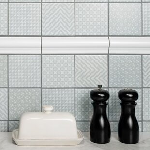 Geogloss 3.88 inch  x 3.88 inch  Porcelain Mosaic Tile in Gray