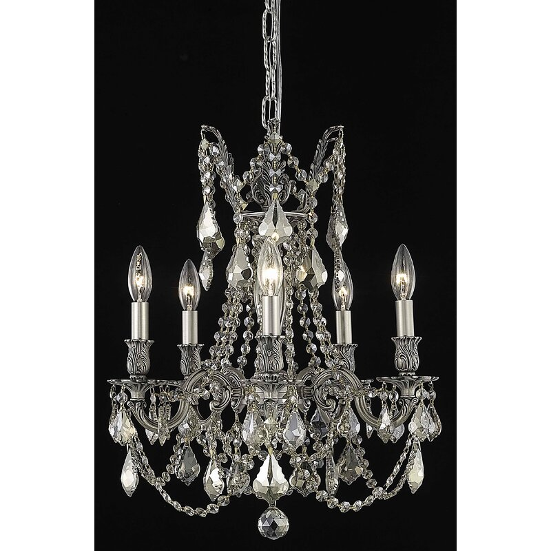 Astoria Grand Utica 5 Light Candle Style Classic Traditional Chandelier Crystal Accents Wayfair