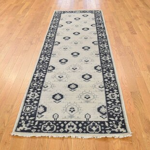 Read Reviews One-of-a-Kind Bearer Hand-Knotted Runner 2'9 x 8'10 Wool Ivory/Black Area Rug By Isabelline