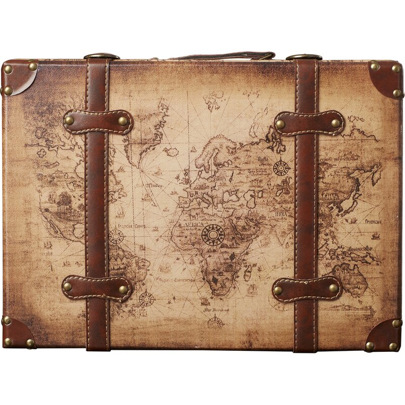 World menagerie prem old world map leather vintage style 2 piece prem old world map leather vintage style 2 piece trunk set gumiabroncs Images
