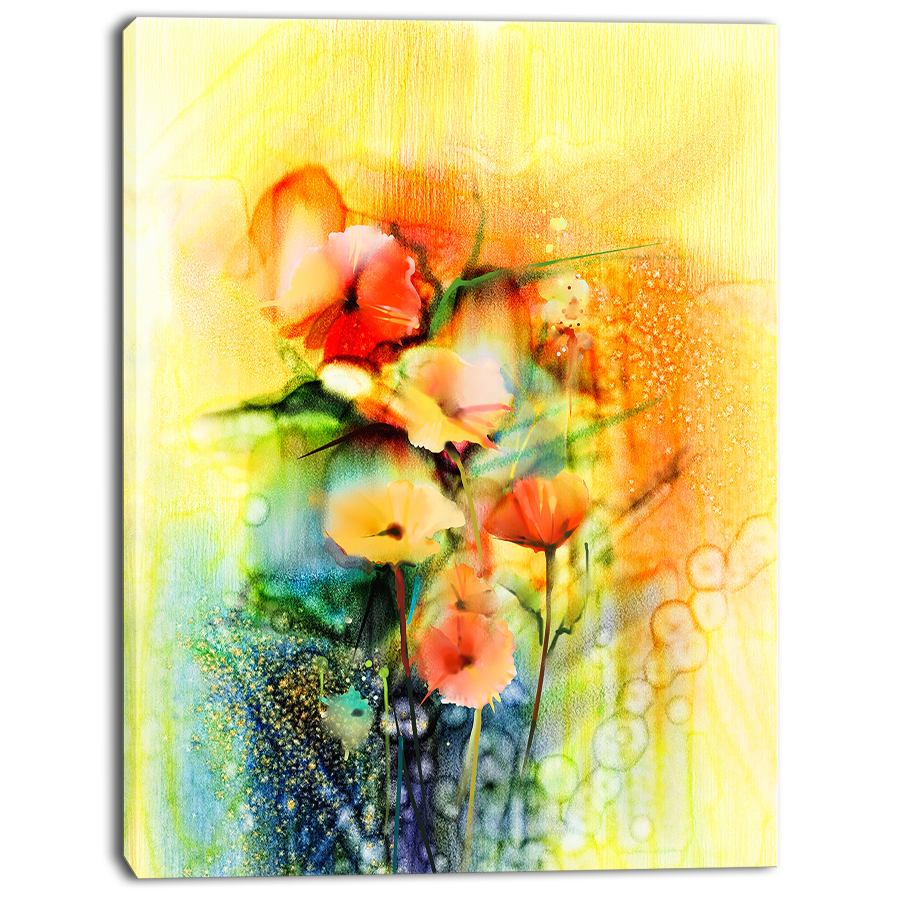 Designart Colored Watercolor Flowers On Yellow Painting Print On Wrapped Canvas Wayfair