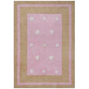 Carousel Pink Border Dots Area Rug