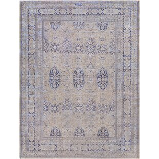 One-of-a-Kind Antique Khorassan Handwoven Wool Beige/Blue Indoor Area Rug by Mansour